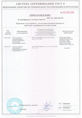 Сертификат соответствия приложение